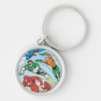 Justice League of America Group 3 Silver-Colored Round Keychain