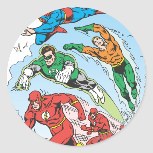 Justice League of America Group 3 Round Stickers