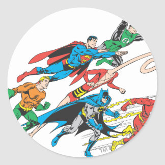 Justice League of America Group 5 Round Stickers