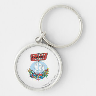 Justice League of America Group Silver-Colored Round Keychain