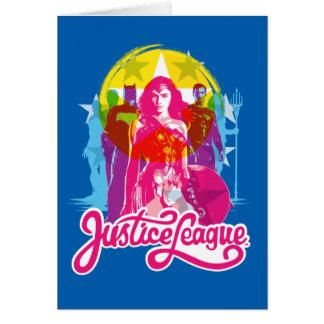 Justice League | Retro Group & Logo Pop Art Card