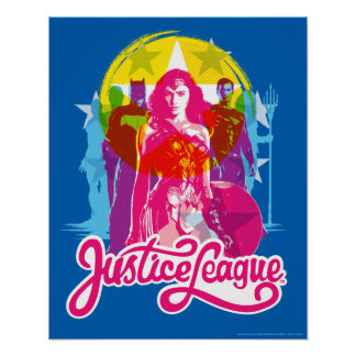 Justice League | Retro Group & Logo Pop Art Poster
