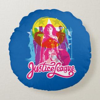 Justice League | Retro Group & Logo Pop Art Round Pillow
