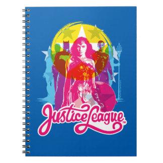 Justice League   Retro Group & Logo Pop Art Spiral Notebook