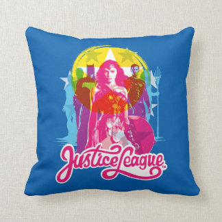 Justice League | Retro Group & Logo Pop Art Throw Pillow