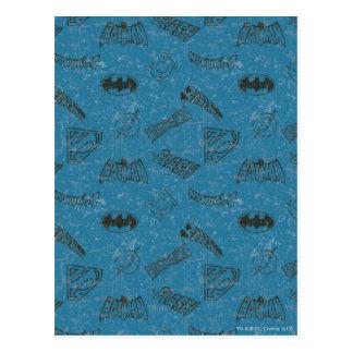 Justice League Rise Up Pattern Postcard