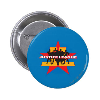 Justice League Silhouettes and Star Background 2 Inch Round Button