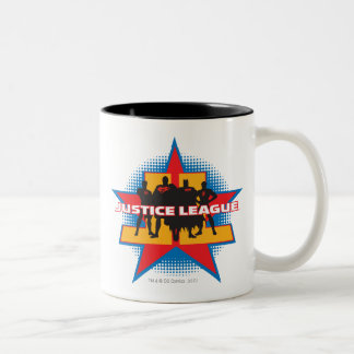 Justice League Silhouettes and Star Background Mug