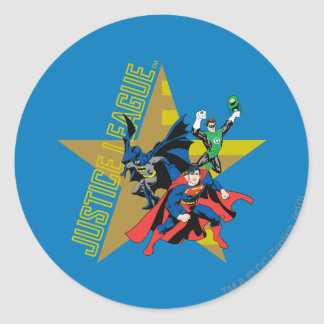 Justice League Star Heroes Classic Round Sticker