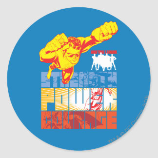Justice League Strength. Power. Courage. Character Round Sticker