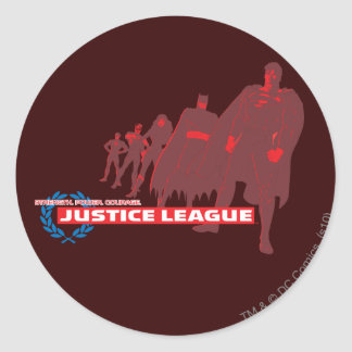 Justice League Strength. Power. Courage. Ensemble Round Sticker