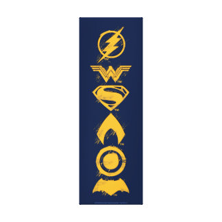 Justice League | Stylized Team Symbols Lineup Canvas Print