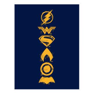 Justice League | Stylized Team Symbols Lineup Postcard