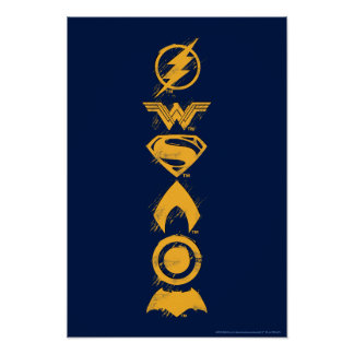 Justice League | Stylized Team Symbols Lineup Poster