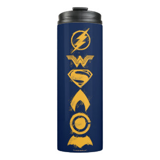 Justice League | Stylized Team Symbols Lineup Thermal Tumbler