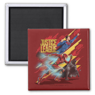 Justice League | Superman, Flash, & Batman Badge Magnet