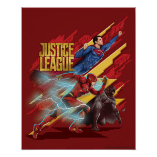 Justice League | Superman, Flash, & Batman Badge Poster