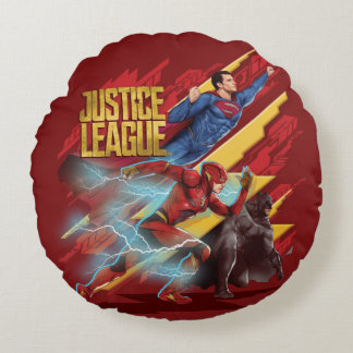 Justice League | Superman, Flash, & Batman Badge Round Pillow