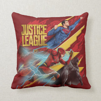 Justice League | Superman, Flash, & Batman Badge Throw Pillow