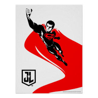 Justice League | Superman Flying Noir Pop Art Poster