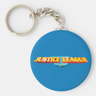 Justice League Thin Name and Shield Logo Basic Round Button Keychain