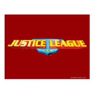 Justice League Thin Name and Shield Logo Postcard