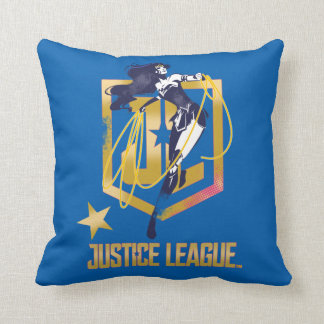 Justice League | Wonder Woman JL Logo Pop Art Throw Pillow