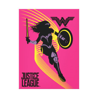 Justice League | Wonder Woman Silhouette Icon Canvas Print