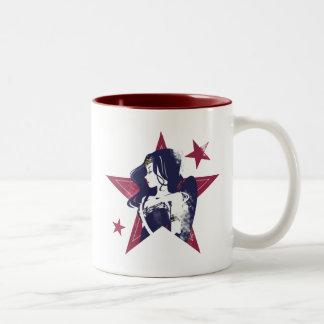 Justice League | Wonder Woman & Stars Pop Art Two-Tone Coffee Mug