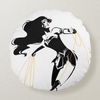 Justice League | Wonder Woman With Lasso Pop Art Round Pillow