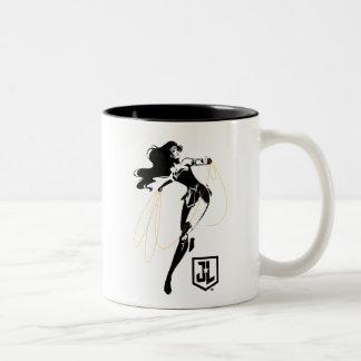 Justice League | Wonder Woman With Lasso Pop Art Two-Tone Coffee Mug