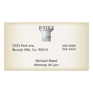 Justice Pillar Law Judge Professional Pack Of Standard Business Cards