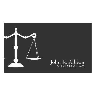 Justice Scale Attorney Black and White 2 Business Card