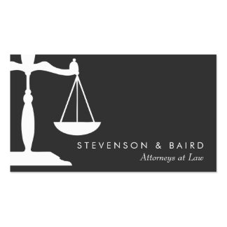 Justice Scale Attorney Black and White Business Cards