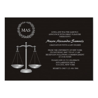 Justice Scale & Wreath Law School Graduation Inv Card