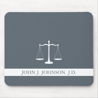 Justice Scales Custom Name Lawyer Slate Grey Mouse Pad