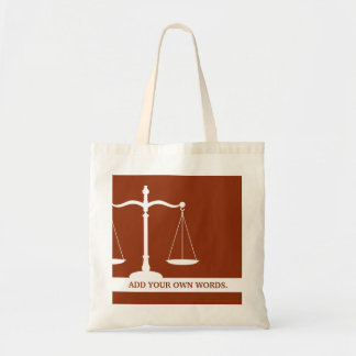 Justice Scales Custom Text Law Themed Burgundy Tote Bag