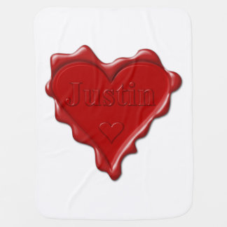 Justin. Red heart wax seal with name Justin Baby Blanket
