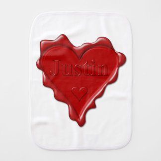 Justin. Red heart wax seal with name Justin Burp Cloth