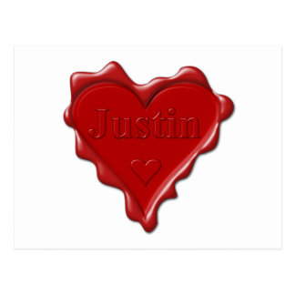 Justin. Red heart wax seal with name Justin Postcard