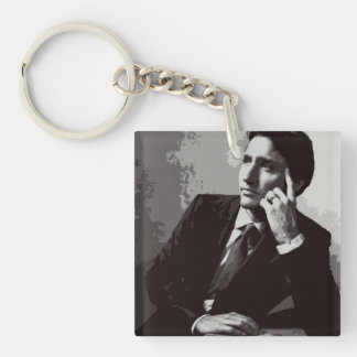 Justin Trudeau black and white Keychain
