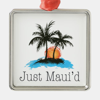 JustMauidTropical Just Maui'd Silver-Colored Square Ornament
