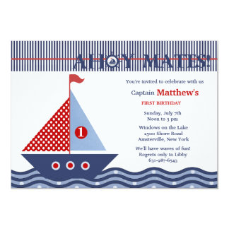 Juvenile Nautical Birthday Party Invitation