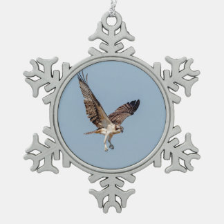 Juvenile Osprey in flight Snowflake Pewter Christmas Ornament