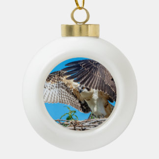 Juvenile Osprey in the nest Ceramic Ball Christmas Ornament