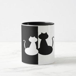 Juxtapose Black White Compare Cat Minimal Contrast Mug