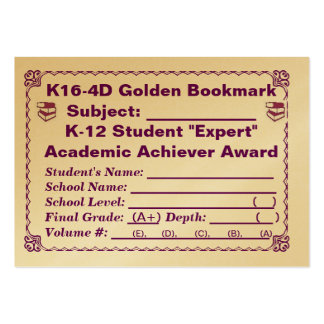 K16-4D Golden Bookmark ~All Subjects~ 100ct Large Business Card