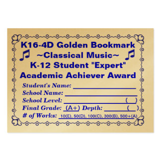 K16-4D Golden Bookmark ~Classical Music~ 100ct Large Business Card
