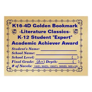 K16-4D Golden Bookmark -Literature Classics- 100ct Large Business Card