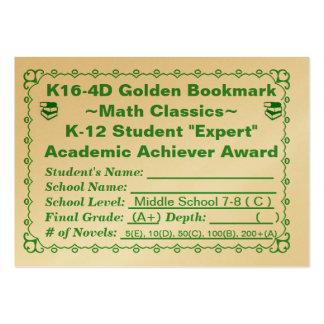 K16-4D Golden Bookmark ~Math Classics~ Jr Hi 100ct Large Business Card